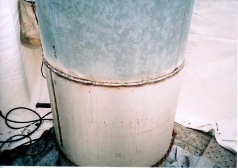 鋼板腐蝕劣化補修後(鋼板製独立型煙突)